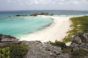 View of Mudjin Harbour from top of bluff in Middle Caicos