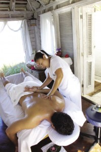 Massage at Thalasso Spa beachfront treatment room