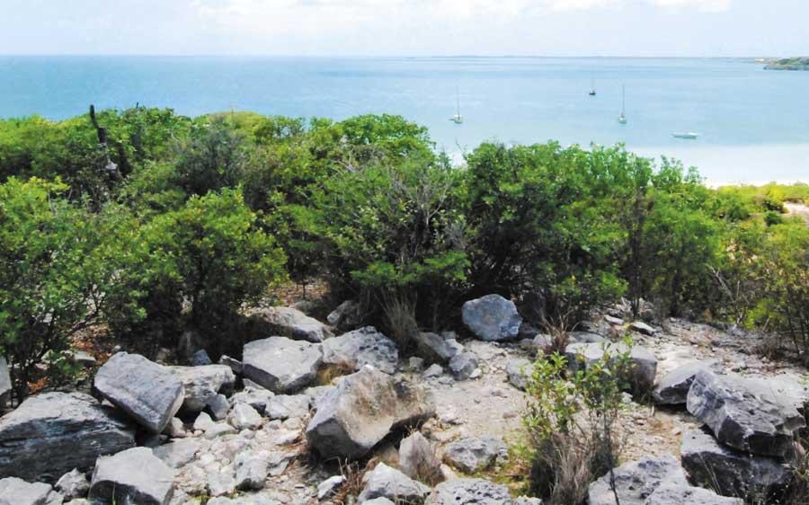 Inscribed stones overlook Sapodilla Bay
