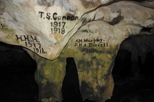 Old graffiti in Conch Bar Caves