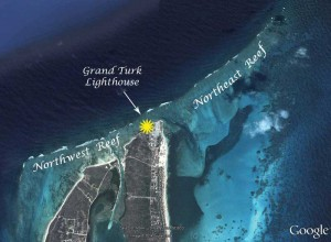 This satellite view of the dangerous reefs at the northern end of Grand Turk shows the need for a lighthouse.