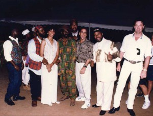 "Everyman gathers for the pre-show in July 1994 (from left:) Brentford Handfield, Quinton Dean, Hudson ""Big H"" Grant, Joanne Bassett, Max Claire, Crayton Ewing, Joe Zahm, Leo Jones, and Allen Poynton."