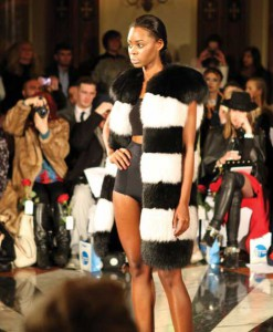 Modeling Milusha London's fabulous fur at London Fashion Week 2014.
