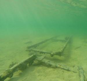 Old discarded railway track near East Caicos