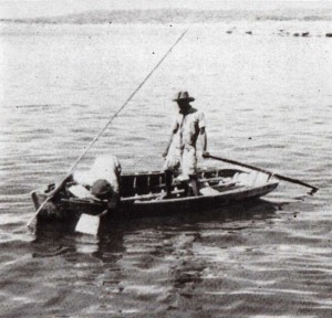 In 1954, fishermen harvested conch using a water glass and rake.