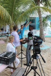 Island Eye-TV crew shoots an informative segment.