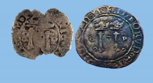 The reverse side of the coin (left) compared to a well-preserved example.