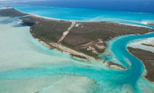Aerial view of Pine Cay as you approach from the east.