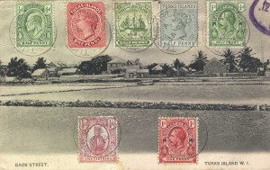 A range of early stamps used on one postcard in 1927.