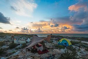 The trekkers enjoy a lovely sunrise over base camp.