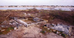 The old cemetery covers the top of The Island, with graves and tombs scattered around the sides.