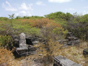A group of coffin-shaped markers found on The Island on Grand Turk.