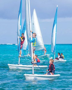 Children learn to sail on Provo Sailing Club's Pico dinghies.