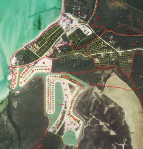 Outline of North Caicos Marina project lots for sale