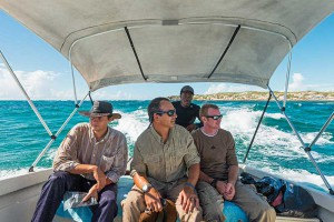 Tim Hamilton (at back) pilots the intrepid group to East Caicos.