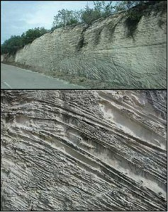 Eolianite in road cuts in Middle Caicos and Long Bay, Providenciales