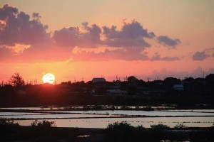 This glorious sunset is reflected in South Caicos' vast salt ponds.