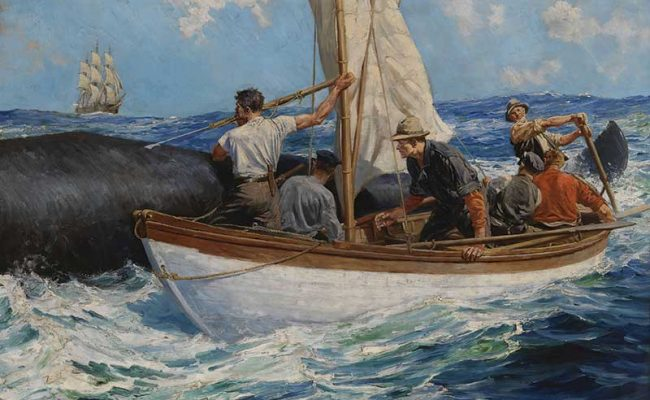 This Anton Otto Fischer painting depicts the almost-unimaginable work of harpooning a whale.