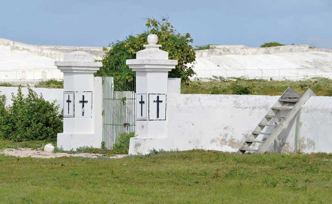 Each island in the Turks & Caicos has its own cemeteries to bury the dead. Shown here is the Public Cemetery in Grand Turk.