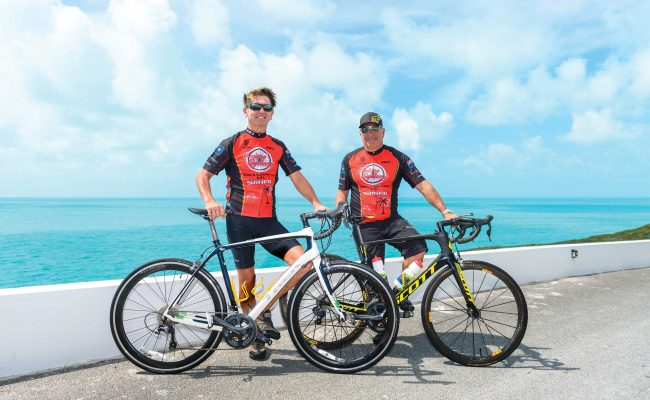 Kevin Yates and Doug Camozzi of Caicos Cyclery enjoy a day on the Caicos Cycle Trail on North and Middle Caicos.